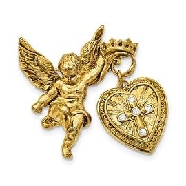 14k Gold IP Angel with 20mm Dangle Heart Crystal Cross Locket Brooch Pin