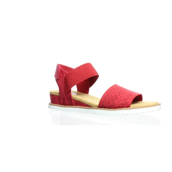 b84e3a8722094 Shop Bobs By Skechers Womens Desert Kiss Red Ankle Strap Heels Size ...