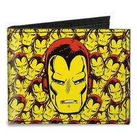 Marvel Comics Iron Man Face Close Up Stacked Canvas Bi Fold Wallet One Size - One Size Fits most