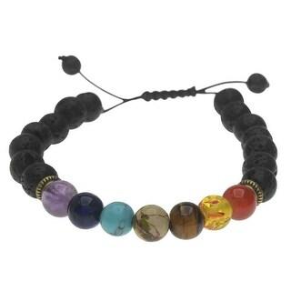 Natural Lava Gemstone and Mixed Bead Chakra Bracelet, Round 8mm, 1 Bracelet, Black/Assorted