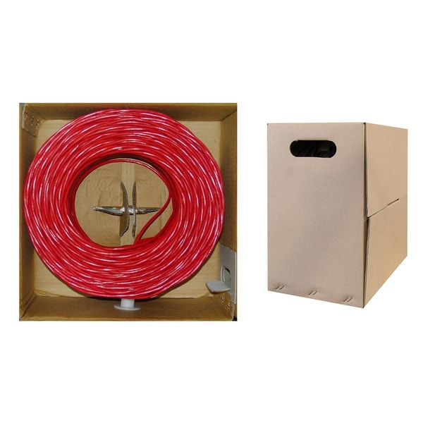 Offex Bulk Cat5e Red Ethernet Cable, Solid, UTP (Unshielded Twisted Pair), Pullbox, 1000 foot