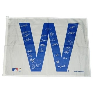 27 x 37 in. 2016 Chicago Cubs Team Signed Cubs White W Flag