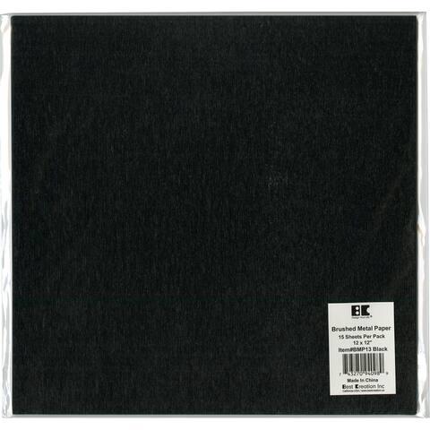 "Best Creation Brushed Metal Single-Sided Paper 12""X12""-Black - Black"
