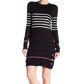 Eliza J Black Womens Size Medium M Knit Striped Sweater Dress