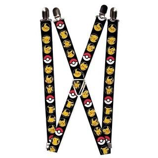 Buckle Down Kids' Elastic Pokemon Print Clip-End Suspenders - Black - One Size