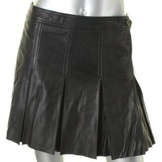 Polo Ralph Lauren Womens Flare Skirt Lambskin Leather Pleated - 4