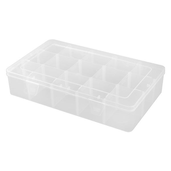 Home Plastic Rectangle 15 Compartments Jewelry Holder Storage Case Box Clear