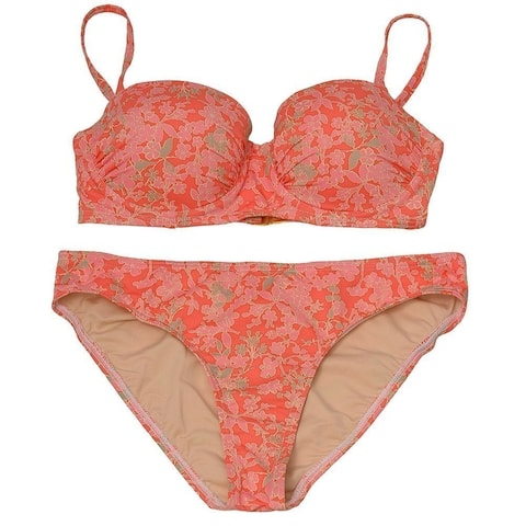 Pixie Pier Women's Peach Floral Allover Pattern 2 Pc Bikini Swimsuit