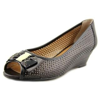 J. Renee Dovehouse Women W Open Toe Leather Black Wedge Heel
