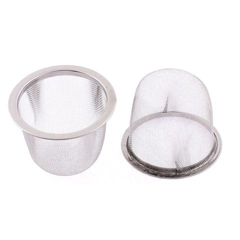 Stainless Steel Wire Mesh Tea Infuser Strainer Basket 60mm Dia 2 Pcs