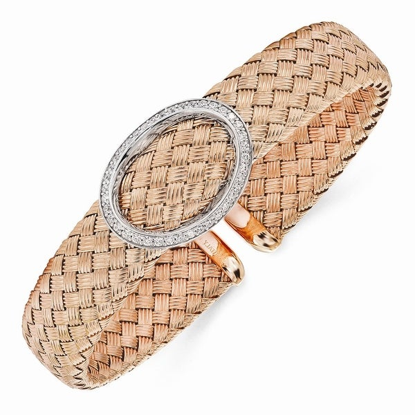 Italian Sterling Silver CZ Rose Gold-plated Woven Flexible Cuff