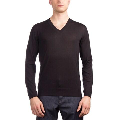 Prada Men's Silk Cotton V-Neck Sweater Black