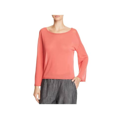 Eileen Fisher Womens Petites Pullover Top Bell Sleeve Knit