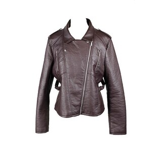 Rachel Rachel Roy Dark Brown Faux-Leather Motorcycle Jacket XL