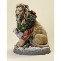 "19"" Yellow and brown Lion with Lamb Peace on Earth Christmas Figure"