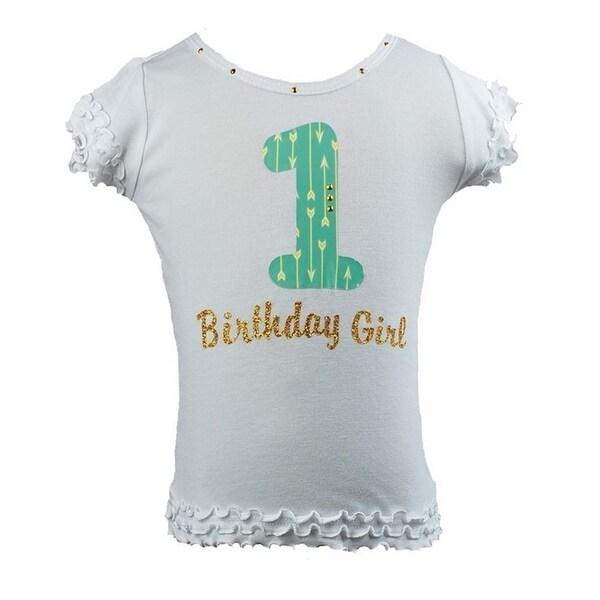 Shop Reflectionz Little Girls White Mint Rhinestuds Number Birthday Shirt 2