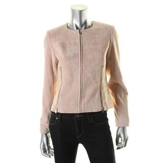 Calvin Klein Womens Petites Jacket Faux Suede Zipper