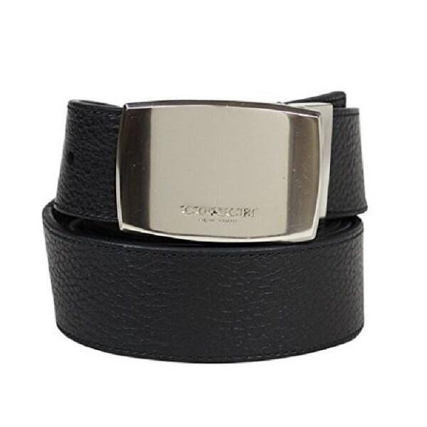 ffe4fe5cc7f5 Coach Black Brown Leather Wide Plaque Cut-to-Size Reversible Pebble Belt