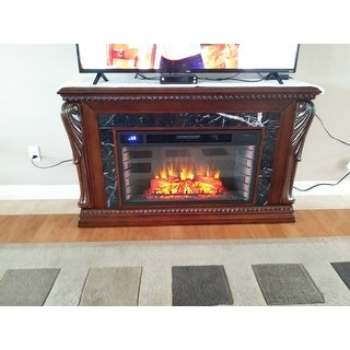Gracewood Hollow Dozier Natural Marble Carved Widescreen Electric Fireplace