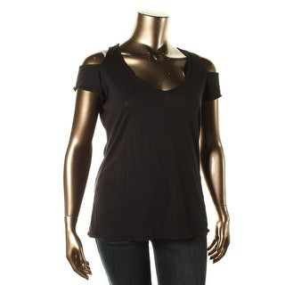 Guess Womens Pullover Top Cold Shoulder Scoop Neck