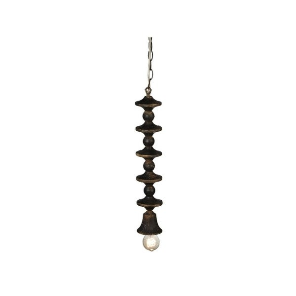 """Set of 2 Black Distressed Traditional Designed Finial Pendant 20"""""""