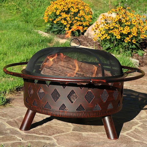 """30"""" Fire Pit Steel with Bronze FInish Crossweave with Spark Screen"""