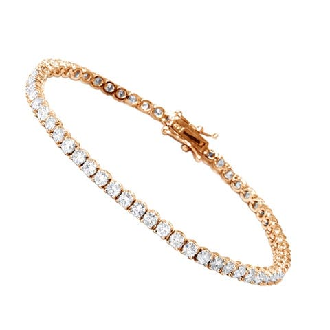 Ladies Eternity Line Bracelets: Round Diamond Tennis Bracelet 4ctw in 14k Gold by Luxurman