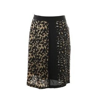 Vince Camuto Tan Black Leo Side Zip Pleat Skirt