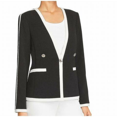 Calvin Klein Womens Blazer Black Size 2 Contrast Pipping Single Button