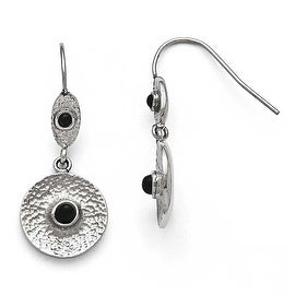 Chisel Stainless Steel Polished and Textured Black Onyx Circle Earrings