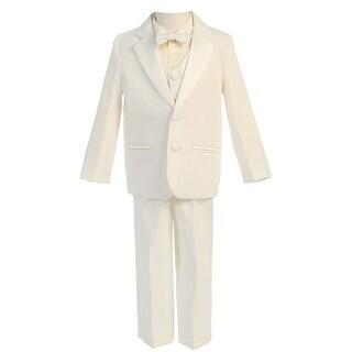 Boys Ivory Vest Bowtie 5 Pcs Special Occasion Tuxedo 8-14