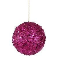 4 in. Fancy Fuchsia Pink Holographic Glitter Drenched Christmas Bal