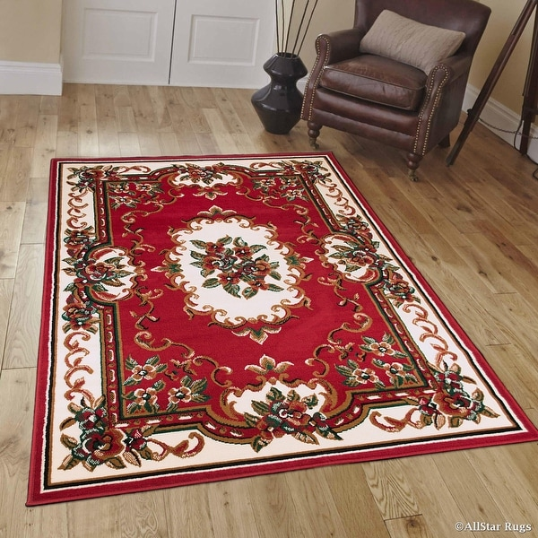 Allstar Red Woven High Quality Rug Traditional Persian Flower Western Design