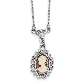 Silvertone Downton Abbey Acrylic Cameo Crystal Necklace - 16in