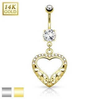 14Kt Gold Filigree Heart Dangle with CZ Belly Button Navel Ring - 14GA (Sold Ind.)