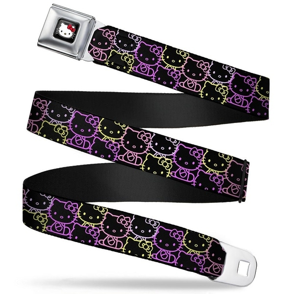 Hello Kitty W Red Bow Full Color Black Hello Kitty Sitting Outline Stacked Seatbelt Belt