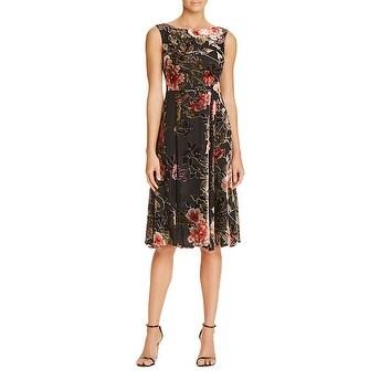 Betsey Johnson Sleeveless Midi Tea Length Velvet Dress with Bateau Neck