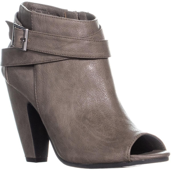 5764f87f6576 Shop MG35 Piper Peep Toe Block Heel Ankle Belt Boots, Taupe - 8.5 us ...