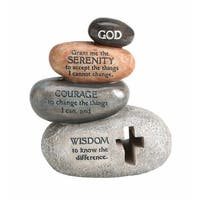 "Stacked Stones Serenity Prayer Sculpture - Indoor/Outdoor Statue - 5.12"" High - By Enesco Legacy of Love - 4.5 in. x 5.25 in."