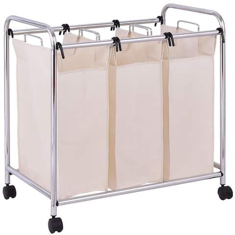 Gymax Laundry Cart Basket Triple Bag Clothes Storage
