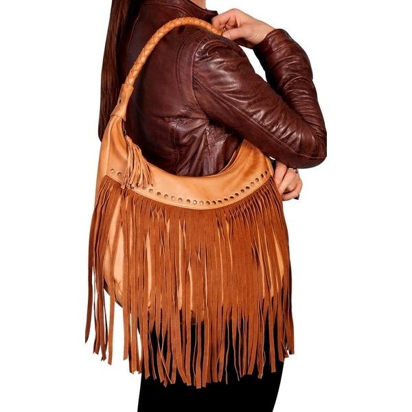 Scully Western Handbag Womens Soft Leather Fringe Zipper Honey B71 - One size