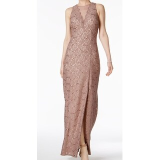 Night way Brown Womens Size 4 Sequin Floral Lace Sheath Dress