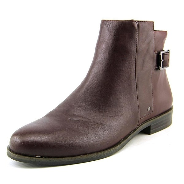 Alfani Acke Women Round Toe Leather Burgundy Ankle Boot