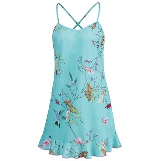 La Cera Women's Butterfly Garden Short Chemise - Sweetheart Neck Cotton Gown