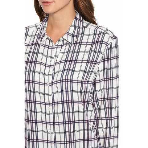 Caslon Pink Womens Plaid Long Sleeve Button Down Shirt