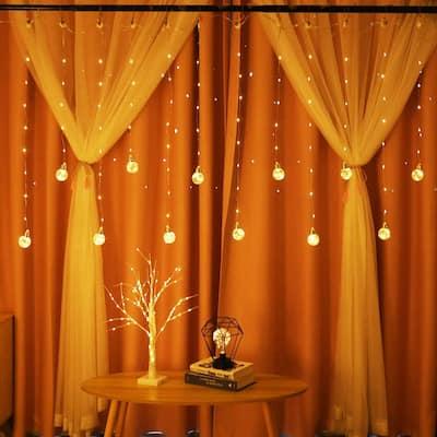 Edison Style Bulb Hanging Twinkle Star 138 LED Curtain Light - Medium
