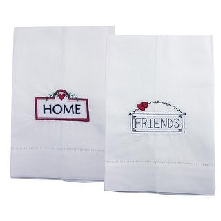 Home And Friends Embroidered Linen Tea Towel Collection - Set of 2