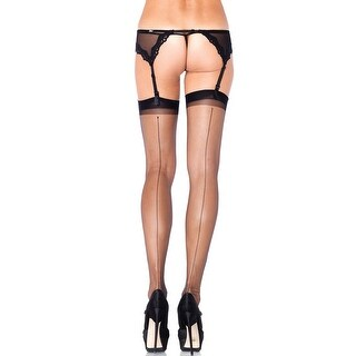 Ultra Sheer Thigh High Stockings With Back Seam, Hoty Stockings - One Size Fits most