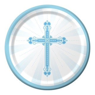 Club Pack of 180 Blue and White Communion Party Plates From the Blessings Collection 7""
