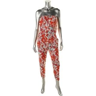Aqua Womens Floral Print Strapless Jumpsuit
